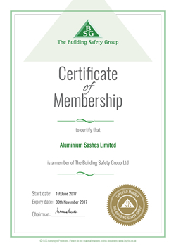 Building Safety Group Membership Certificate 2017