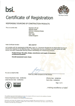 Kawneer 6001_certificate - Responsible Sourcing of Construction Products